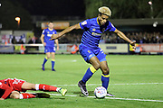 AFC Wimbledon striker Lyle Taylor (33) dribbling into box during the EFL Sky Bet League 1 match between AFC Wimbledon and Gillingham at the Cherry Red Records Stadium, Kingston, England on 12 September 2017. Photo by Matthew Redman.