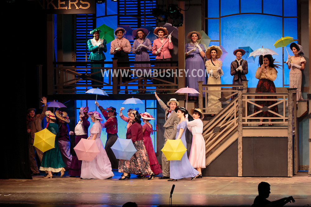 "Goshen, New York - Members of the Goshen High School Drama Club peform on stage during a dress rehearsal of ""Hello Dolly"" in the auditorium on March 10, 2016."