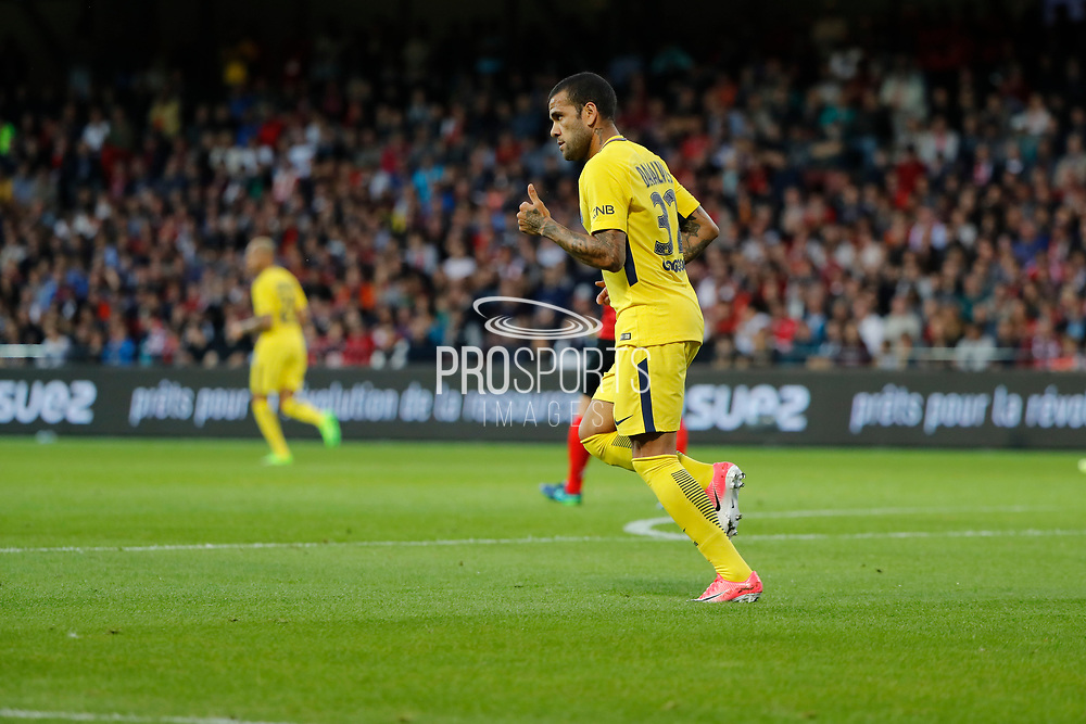 Daniel Alves da Silva (PSG) during the French championship L1 football match between EA Guingamp v Paris Saint-Germain, on August 13, 2017 at the Roudourou stadium in Guingamp, France - Photo Stephane Allaman / ProSportsImages / DPPI