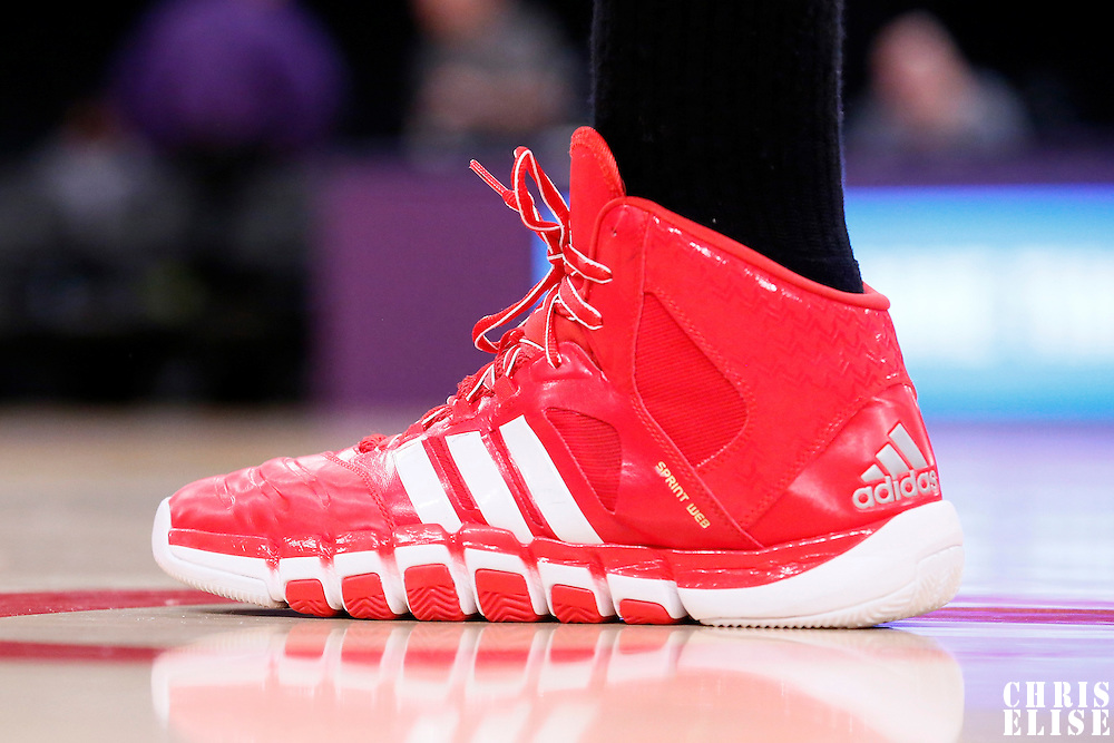 09 February 2014: Close view of Chicago Bulls center Joakim Noah (13) Adidas shoes during the Chicago Bulls 92-86 victory over the Los Angeles Lakers at the Staples Center, Los Angeles, California, USA.
