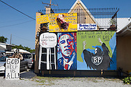 Mural on US Highway 1 at a tattoo shop run by Bobby Pirtre made by him and his assistant in response to the BP oil spill.