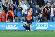 Jack Marriott scores his second and seals the win during the Sky Bet League 2 match between Luton Town and AFC Wimbledon at Kenilworth Road, Luton, England on 26 September 2015. Photo by Stuart Butcher.