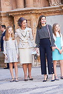 Crown Princess Leonor, Princess Sofia, Queen Letizia of Spain, Queen Sofia of Spain leave the Cathedral of Palma de Mallorca after Easter Mass on April 1, 2018 in Palma de Mallorca, Spain