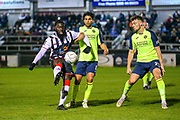 Maidenhead United defender Ayo Obileye shoots towards the goal during the Vanarama National League match between Maidenhead United and Havant & Waterlooville FC at York Road, Maidenhead, United Kingdom on 26 March 2019.