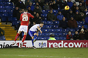 Chris Hussey of Bury crosses the ball  during the Sky Bet League 1 match between Bury and Barnsley at The JD Stadium, Bury, England on 23 February 2016. Photo by Simon Brady.