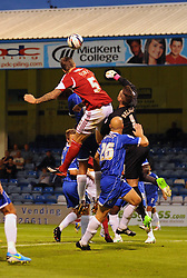 Bristol City's Aden Flint outjumps Gillingham's Stuart Nelson but his headers goes just wide - Photo mandatory by-line: Seb Daly/JMP - Tel: Mobile: 07966 386802 06/08/2013 - SPORT - FOOTBALL - Priestfield Stadium - Gillingham -  Gillingham V Bristol City - Capital One Cup - First Round