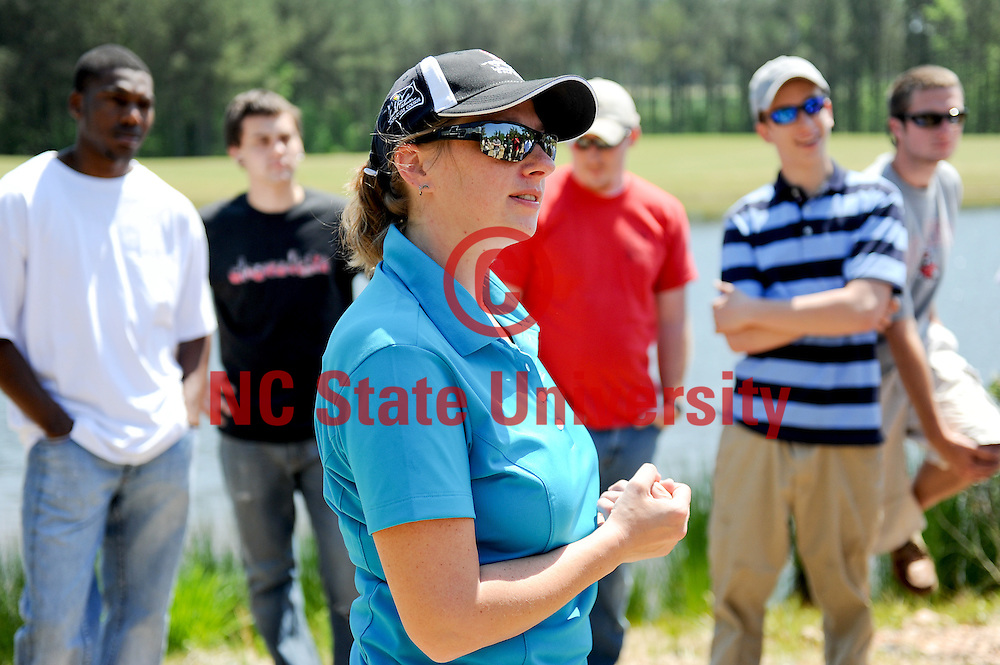 Dr. Danesha Carley leads a CALS Agricultural Institute turfgrass class at the Lonnie Poole Golf Course. Photo by Becky Kirkland.