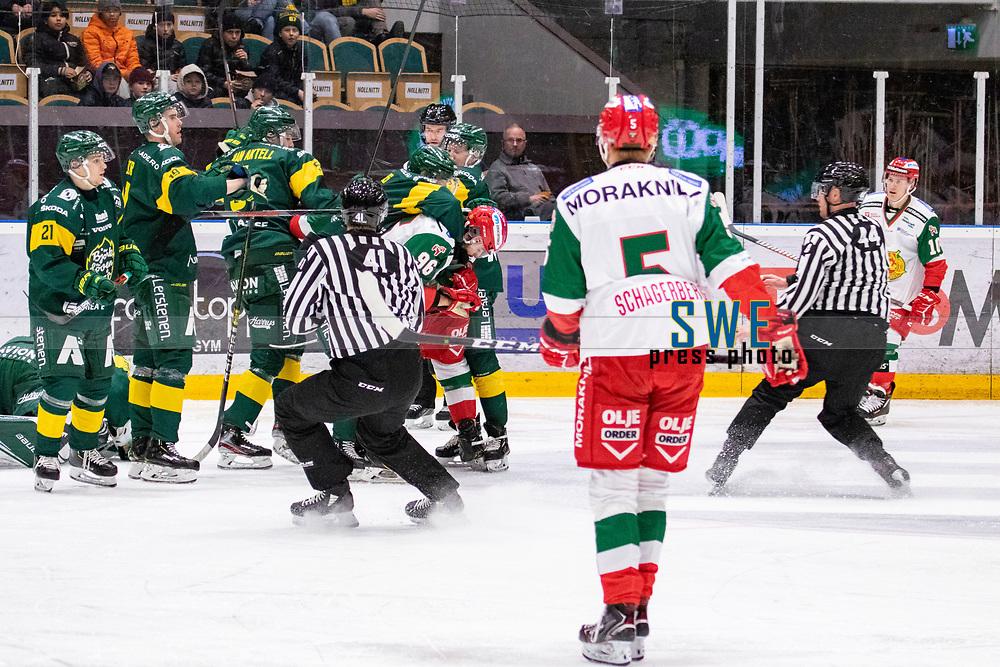 2019-12-02   Umeå, Sweden:Little fight in  HockeyAllsvenskan during the game  between Björklöven and Mora at A3 Arena ( Photo by: Michael Lundström   Swe Press Photo )<br /> <br /> Keywords: Umeå, Hockey, HockeyAllsvenskan, A3 Arena, Björklöven, Mora, mlbm191202