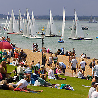 The Green, Spectators, Yacht Racing, Cowes Week, Cowes, Isle of Wight, England, UK, Photographs of the Isle of Wight by photographer Patrick Eden photography photograph canvas canvases
