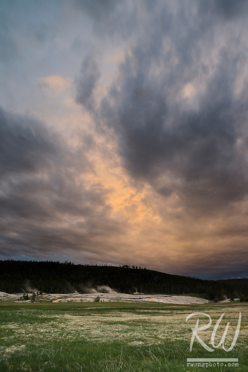 Upper Geyser Basin Stormy Sunset, Yellowstone National Park, Wyoming