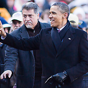 President Obama Attends the Army-Navy Football Game, Obama Withstand the chilly December temperatures, as this is the first Army-Navy game Obama has attended as Commander-In-Chief Saturday, Dec. 10, 2011 at Fed EX field in Landover Md.<br /> <br /> Navy set the tone early in the game as Navy defeats Army 31-17 in front of 82,000 at Fed EX Field in Landover Md.<br /> <br /> http://monsterphoto.photoshelter.com/image/I0000zjk2R6d3gXs