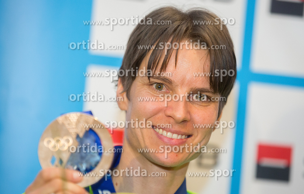 Teja Gregorin with bronze medal at reception of Slovenia team arrived from Winter Olympic Games Sochi 2014 on February 19, 2014 at Airport Joze Pucnik, Brnik, Slovenia. Photo by Vid Ponikvar / Sportida