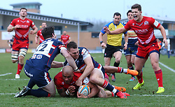 Tom Varndell of Bristol Rugby scores a try - Mandatory by-line: Robbie Stephenson/JMP - 13/01/2018 - RUGBY - Castle Park - Doncaster, England - Doncaster Knights v Bristol Rugby - B&I Cup