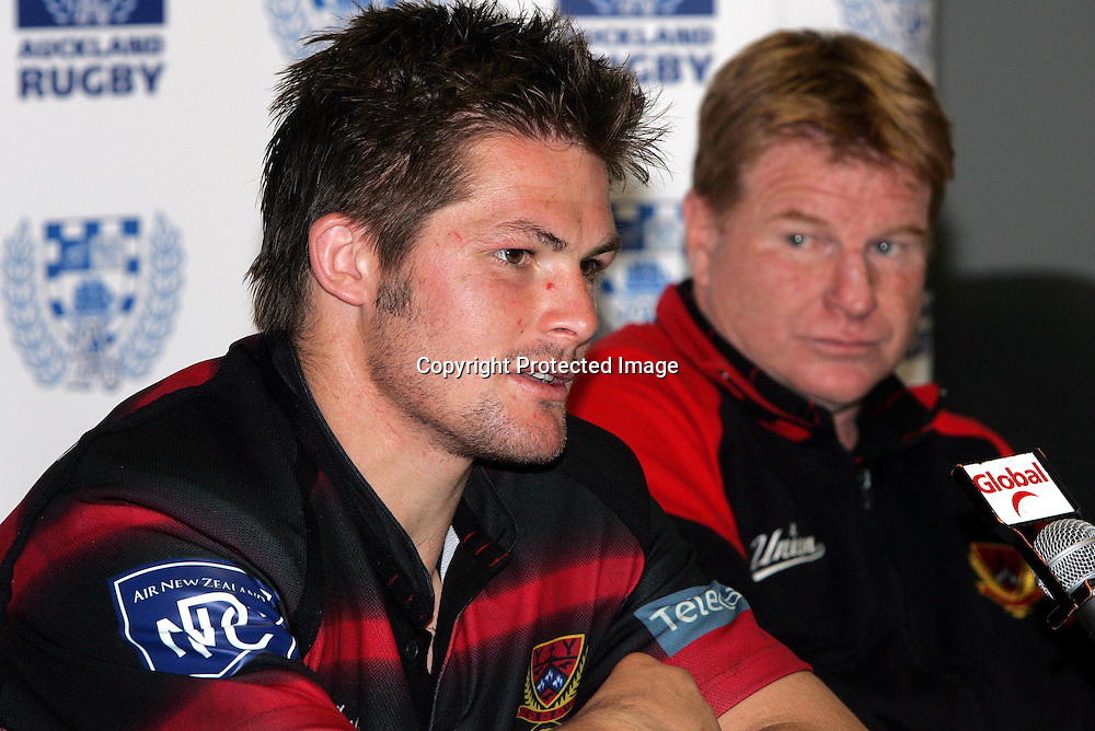 Canterbury's captain Richie McCaw and coach Aussie McLean talk to the media after the Canterbury v Auckland NPC match at Eden Park, Saturday 2 October 2004 Canterbury won 28 - 20<br />