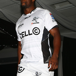 DURBAN, SOUTH AFRICA, December 3 2015 - Wandile Mjekevu during The Cell C Sharks Official Launch and unveiling of The Cell C Sharks Super Rugby Jersey at Growthpoint Kings Park in Durban, South Africa. (Photo by Steve Haag)<br /> images for social media must have consent from Steve Haag