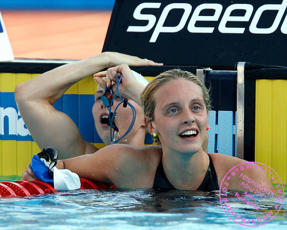 ROME 31/07/2009.13th Fina World Championships.Women's 100m Freestyle - Final.Britta Steffen of Germany (L) celebrates with Fran Halsall of Britain after setting a world record in the women's 100m freestyle swimming final at the World Championships.photo: Piotr Hawalej / WROFOTO