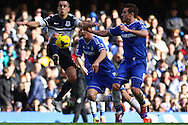 Frank Lampard of Chelsea (right) watches as Leon Osman of Everton wins the ball during the Barclays Premier League match at Stamford Bridge, London<br /> Picture by David Horn/Focus Images Ltd +44 7545 970036<br /> 22/02/2014