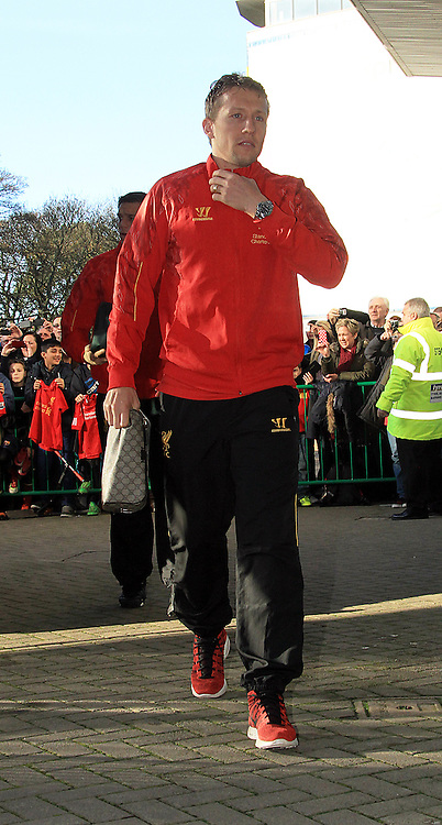 Picture by Richard Gould/Focus Images Ltd +44 7855 403186<br /> 01/12/2013<br /> Lucas Leiva of Liverpool getting off the team bus during the Barclays Premier League match at the KC Stadium, Kingston upon Hull.
