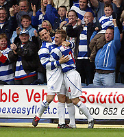PHOTO: GERARD FARRELL<br /> QPR V STOCKPORT.<br /> NATIONWIDE DIVISION TWO.<br /> DATE: 17\04\2004.<br /> QPR'S MARTIN ROWLANDS CELEBRATES HIS GOAL WITH MARK BIRCHAM