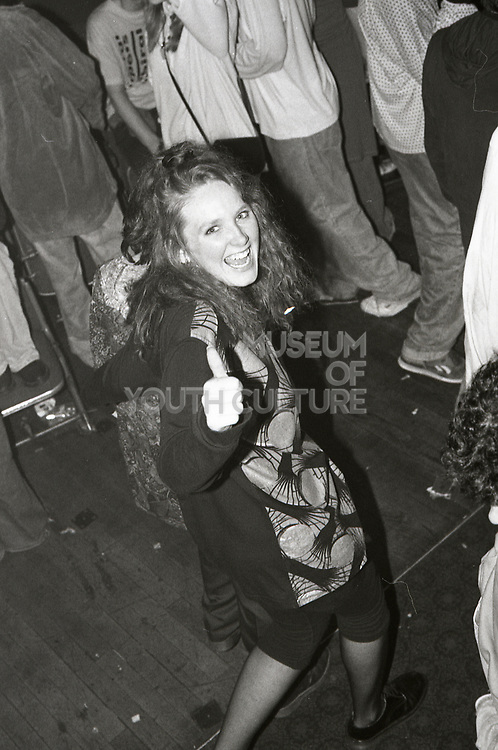 Fan at a Happy Mondays gig at the Free Trade Hall in Manchester in 1989.