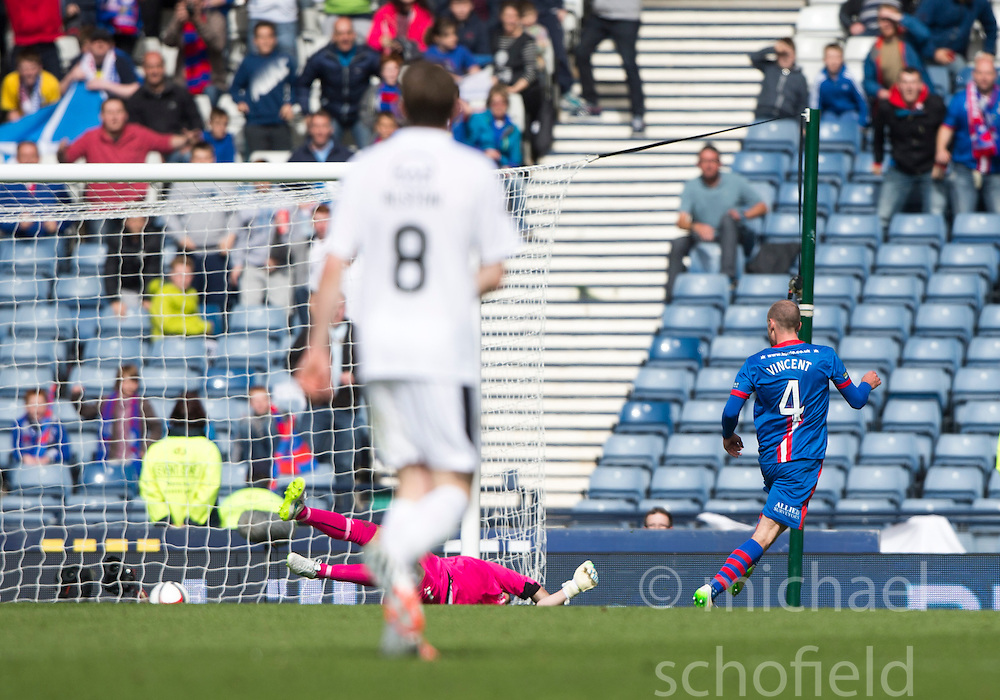 Inverness Caledonian Thistle's James Vincent scoring their second goal. Falkirk 1 v 2 Inverness CT, Scottish Cup final at Hampden.