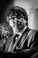 "Brussels Belgium 2017 Oktober 31 Catalonia's ousted president, Carles Puigdemont, said during a crowded press conference at the Brussels Press Centre to act ""in freedom and safety"", but not to seek political asylum."