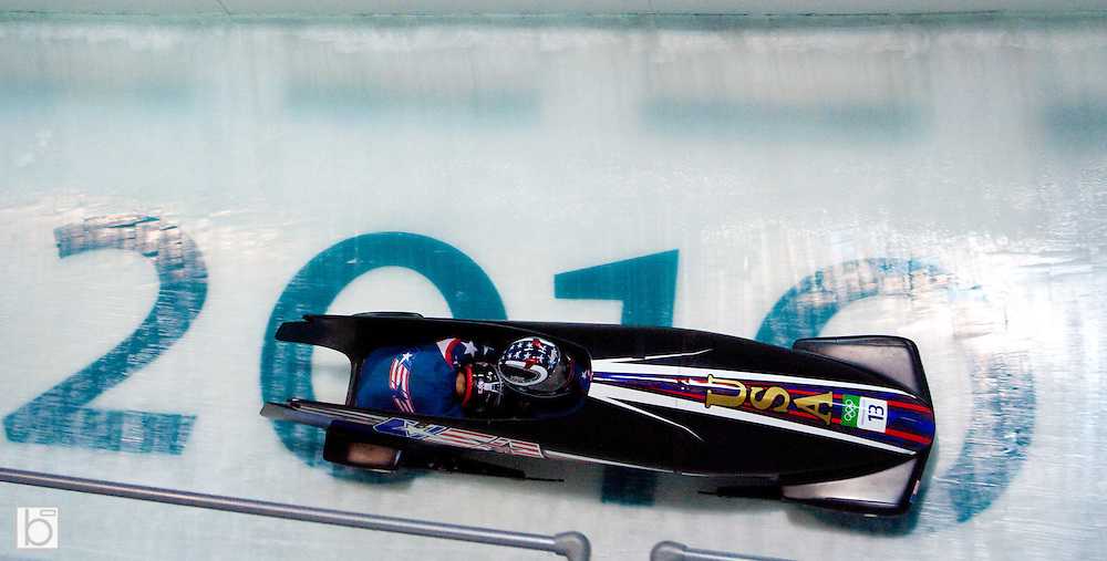 Sunday, Feb 21, 2010;  the 2010 Winter Olympics 2-man Bobsled competition at the Whistler Sliding Center in Whistler, BC, Canada. (Photo/Todd Bissonette - www.usabobsledphotos.com)