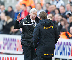 27.04.2013, St. James Park, Newcastle, ENG, Premier League, Newcastle United vs FC Liverpool, 35. Runde, im Bild Liverpool's manager Brendan Rodgers shakes hands with Newcastle United's manager Alan Pardew after his side's 6-0 demolition during during the English Premier League 35th round match between Newcastle United and Liverpool FC at the St. James Park, Newcastle, Great Britain on 2013/04/27. EXPA Pictures © 2013, PhotoCredit: EXPA/ Propagandaphoto/ David Rawcliffe..***** ATTENTION - OUT OF ENG, GBR, UK *****