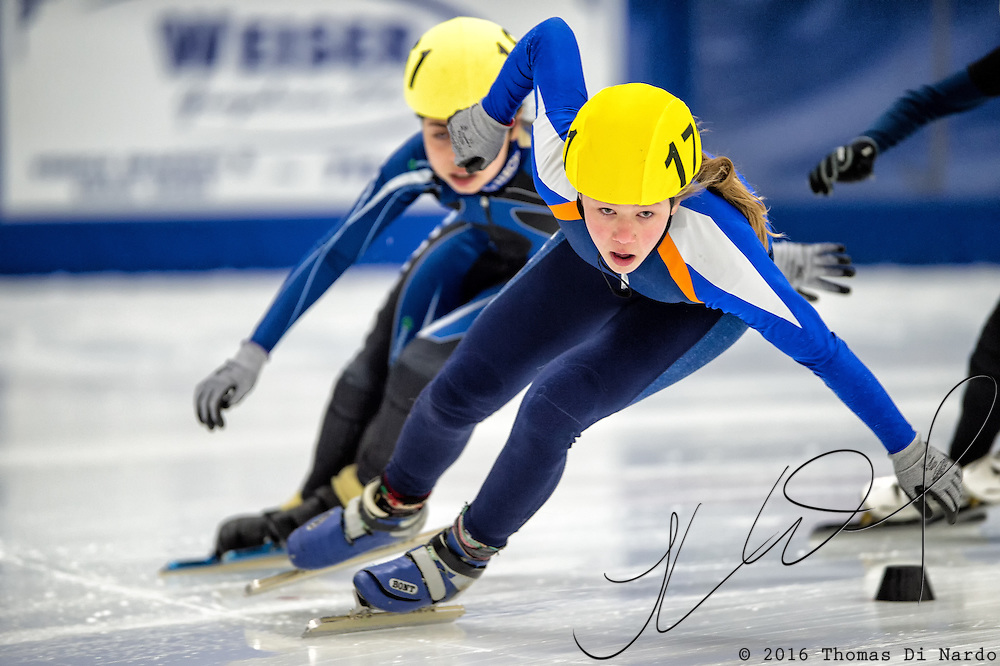 March 20, 2016 - Verona, WI - Piper Yde, skater number 171 competes in US Speedskating Short Track Age Group Nationals and AmCup Final held at the Verona Ice Arena.