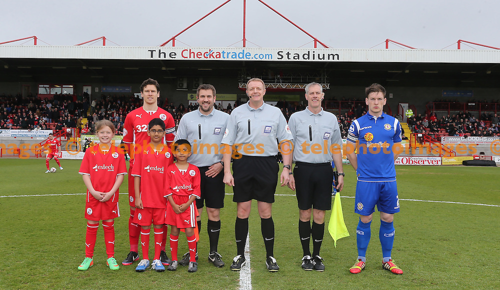 TELEPHOTO IMAGES / 07967642437<br /> Mascots line up with the officials and captains before  the Sky Bet division one match between Crawley Town and Crewe Alexandra at the Checkatrade.com Stadium in Crawley. April 5 2014.