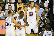 Golden State Warriors forward Draymond Green (23) reacts after being called for a technical foul against the San Antonio Spurs at Oracle Arena in Oakland, Calif., on October 25, 2016. (Stan Olszewski/Special to S.F. Examiner)