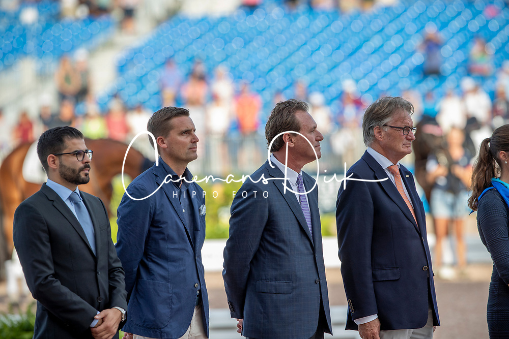 Prizegiving Grand Prix, Helgstrand Andreas, Belissimo Mark, Kemperman Frank<br /> World Equestrian Games - Tryon 2018<br /> © Hippo Foto - Dirk Caremans<br /> 13/09/2018
