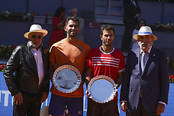 May 12, 2019 - Madrid, Spain - Jean-Julien Rojer of The Netherlands and partner Horia Tecau of Romania rthey  celebrate victory after winning in their men's doubles final against Diego Schwartzman of Argentina and Dominic Thiem of Austria during day nine of the Mutua Madrid Open at La Caja Magica on May 12, 2019 in Madrid, Spain  (Credit Image: © Oscar Gonzalez/NurPhoto via ZUMA Press)