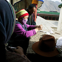 LABRANG, APRIL 5, 2012 :  nomad pilgrims from various regions  pray at labrang monastry .