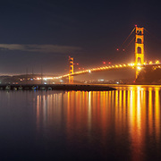 Taken on the eve of the Bridge's 75th Birthday, and the incredible celebrations that followed. The city lights of San Francisco and Sutro Tower can be seen in the distance.