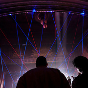 September 25, 2013 - New York, NY: Lasers fill the auditorium as the band Earth, Wind & Fire (not visible) performs at the Beacon Theatre in Manhattan on Wednesday night.<br /> CREDIT: Karsten Moran for The New York Times