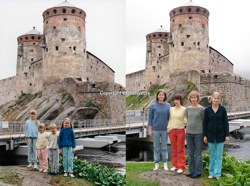 In the bath tub and on the ski slope: Photographer recreates a host of childhood holiday snaps 20 years on with her sisters<br /> <br /> A Finnish photographer set out to recreate childhood holiday pictures taken by her father 20 years ago with amusing and touching results.<br /> Wilma Hurskainen rounded up her three younger sisters and set off for the destinations they visited with their parents - and this time she directed the shots herself.<br /> The four siblings did their best to mimic the original images, which were taken between 1986 and 1990. They struck the same poses and imitated their facial expressions, acknowledging the difficulty encountered in family photos when everyone needs to look at the camera at the same time.<br /> They even tried to pay homage to their '80s fashions by wearing the same colours and styles of outfit - sporting matching tops or hoodies in different colours.<br /> In the series, titled 'Growth', Hurskainen snapped the scenes as closely as she could to her dad's efforts, to give a glimpse of how much the sisters have physically grown over the past 20 years.<br /> The matching sailor dresses might now be a thing of the past, but the siblings effortlessly slip into their younger roles - and now they are even taller than their mother.<br /> <br /> In one particularly poignant shot, the grown-up sisters pose on a sofa but cannot fully recreate the shot as their grandfather has since died.<br /> Hurskainen wrote on her website that she would love to get her sisters together again for a new set of the photos as they get older.<br /> The photographer told the My Modern Metropolis website: 'The most important thing is that in the end my sisters were pleased with the whole thing.<br /> 'It was sometimes a little hard finding the places of the original photos, finding the proper clothing and dealing with the emotions that emerged because of the process of digging up the past.'<br /> <br /> Photo shows: At Castle Olavinlinna in their home cou