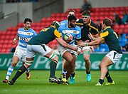 Argentina's Ruben Ricco  drives at the South African defence during the World Rugby U20 Championship 3rd Place play-off  match Argentina U20 -V- South Africa U20 at The AJ Bell Stadium, Salford, Greater Manchester, England on Saturday, June 25, 2016.(Steve Flynn/Image of Sport)