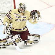 Thatcher Demko #30 of the Boston College Eagles makes a save during The Beanpot Championship Game at TD Garden on February 10, 2014 in Boston, Massachusetts. (Photo by Elan Kawesch)
