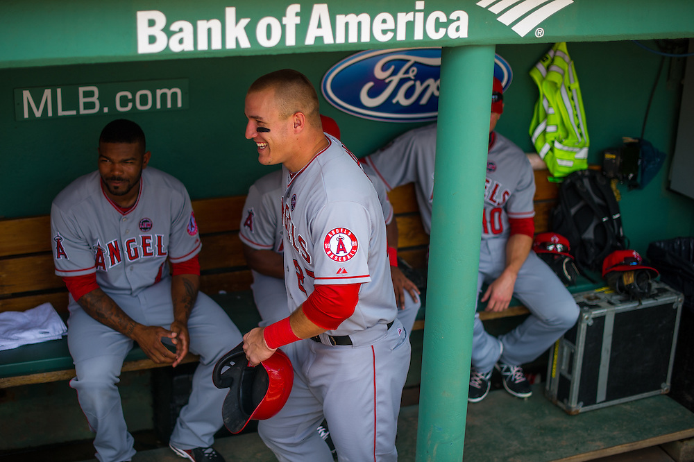 BOSTON, MA - JUNE 09: Mike Trout #27 of the Los Angeles Angels looks on from the dugout during the game against the Boston Red Sox at Fenway Park in Boston, Massachusetts on June 9, 2013. (Photo by Rob Tringali) *** Local Caption *** Mike Trout