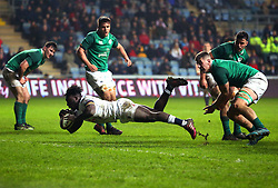 Gabriel Ibitoye of England U20 scores a try but its is disallowed - Mandatory by-line: Robbie Stephenson/JMP - 16/03/2018 - RUGBY - Ricoh Arena - Coventry, England - England U20 v Ireland U20 - Six Nations U20