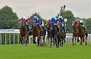 Wasim ridden by Kevin Stott (white cap and spots on sleeves) wins Normandie Stud Novice Stakes  during the Racing Welfare Charity Raceday meeting at Doncaster Racecourse, Doncaster<br /> Picture by Martin Lynch/Focus Images Ltd 07501333150<br /> 07/07/2017