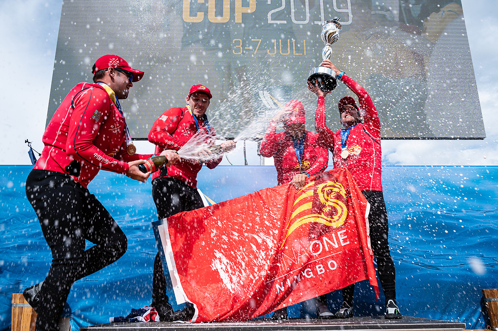 Phil Robertson, Will Tiller, James Weirzbowski and Stuart Dodson celebrate their second World Match Racing Tour Championship at the 2019 World Match Racing Tour Final in Marstrand, Sweden, 7 July 2019. Photo: Drew Malcolm for ChinaOne.Ningbo.