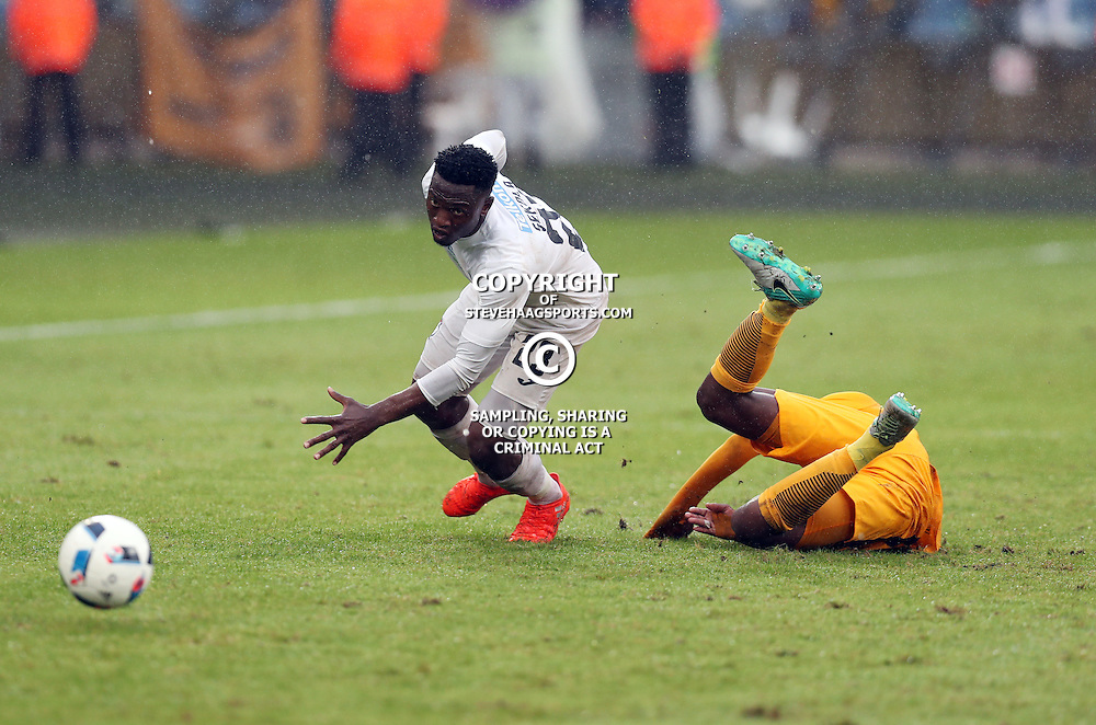 Moeketsi Sekola of Free State Stars with a tackle on Willard Katsande of Kaizer Chiefs during the Telkom Knockout quarterfinal  match between Kaizer Chiefs and Free State Stars at the Moses Mabhida Stadium , Durban, South Africa.6 November 2016 - (Photo by Steve Haag Kaizer Chiefs)