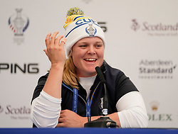 Auchterarder, Scotland, UK. 12 September 2019. Press conference with Team Europe players for the 2019 Solheim Cup. Pictured; Caroline Hedwall. Iain Masterton/Alamy Live News