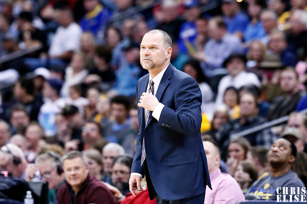04 March 2017: Denver Nuggets head coach Michael Malone is seen during the Charlotte Hornets 112-102 victory over the Denver Nuggets, at the Pepsi Center, Denver, Colorado, USA.