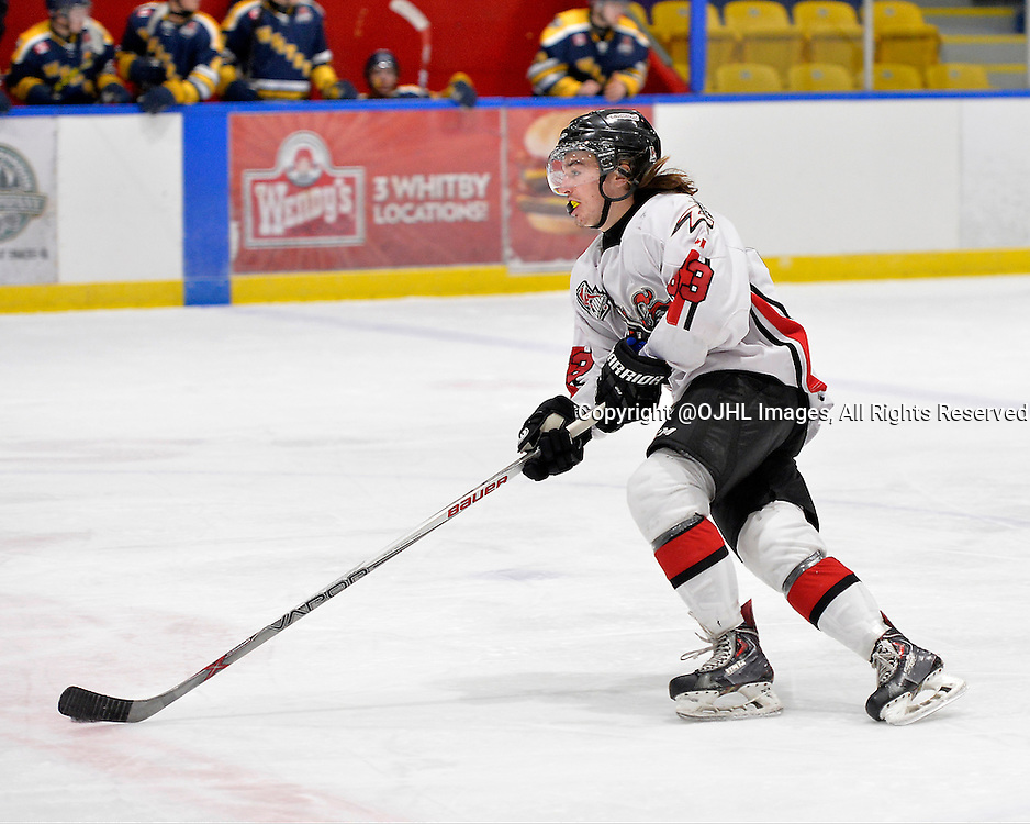 WHITBY, ON - Oct 18, 2015 : Ontario Junior Hockey League game action between Mississauga and Whitby, Shane Beaulieu #63 of the Mississauga Chargers skates with the puck during the second period.<br /> (Photo by Shawn Muir / OJHL Images)