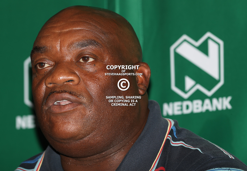 Thami Ngubani (Head Coach) of KwaDukuza United during the NEDBANK CUP LAST 32 MEDIA OPPORTUNITIES at  Moses Mabhida Stadium  in Durban, South Africa. 7th March 2017(Photo by Steve Haag)<br /> <br /> images for social media must have consent from Steve HaaT