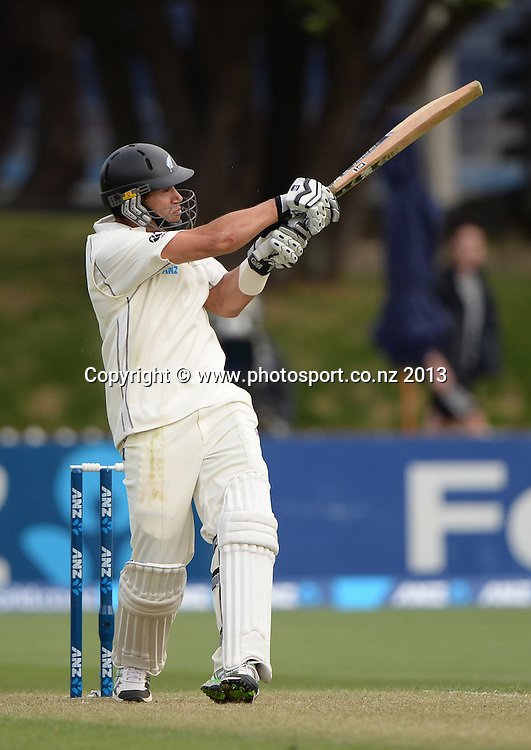 Ross Taylor batting on Day 1 of the 2nd cricket test match of the ANZ Test Series. New Zealand Black Caps v West Indies at The Basin Reserve in Wellington. Wednesday 11 December 2013. Mandatory Photo Credit: Andrew Cornaga www.Photosport.co.nz