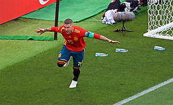 MOSCOW, RUSSIA - Sunday, July 1, 2018: Spain's Sergio Ramos celebrates as if he scored the first goal, which was an own-goal, during the FIFA World Cup Russia 2018 Round of 16 match between Spain and Russia at the Luzhniki Stadium. (Pic by David Rawcliffe/Propaganda)